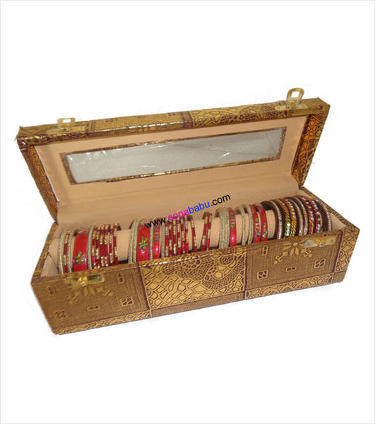 Beautifully crafted golden bangle box