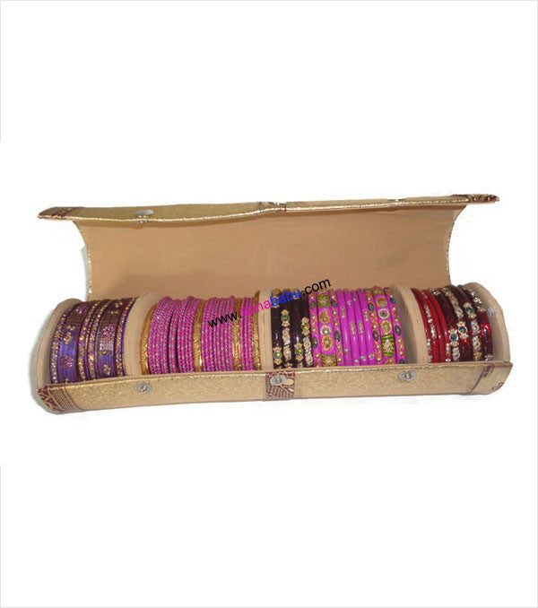 Round golden bangle box with full craft work