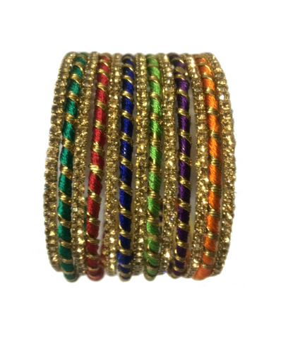 Thread Bangles with fancy look having metal with stones