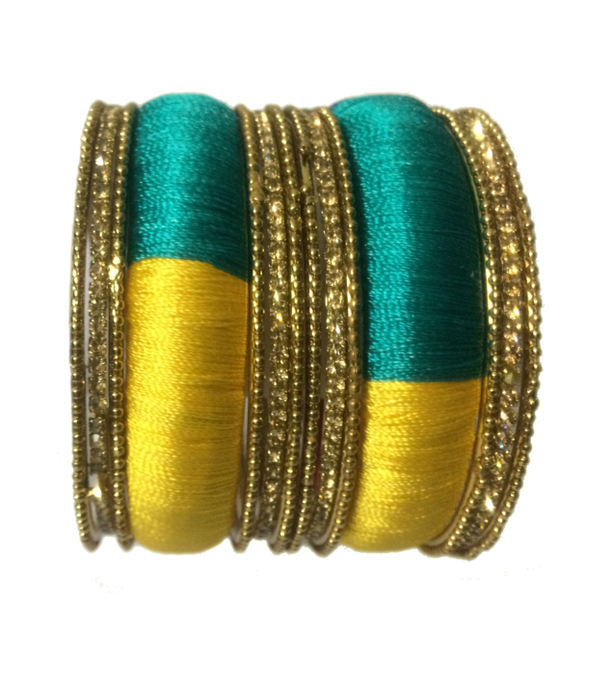 Thread Bangles with multicolours and side bangles with silver stones