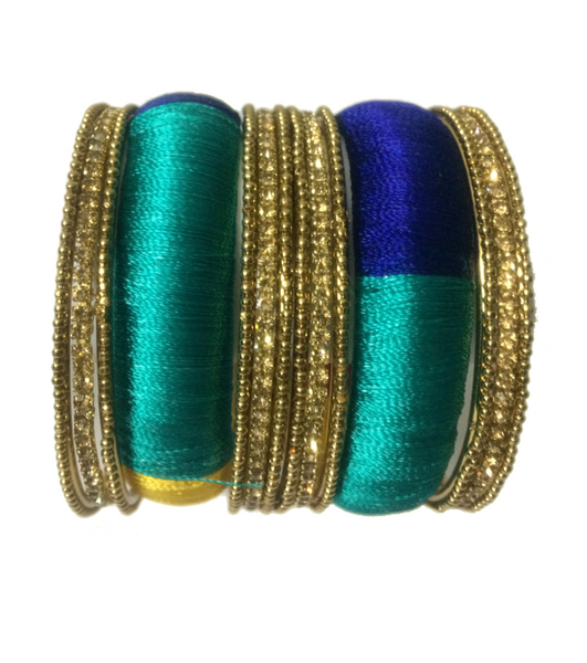 Thread Bangles with multicolours and side bangles with golden stones