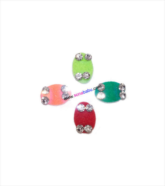 Colourful oval shaped bindis