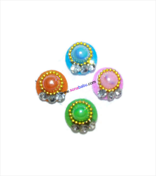 Designer round bindis with pearl work