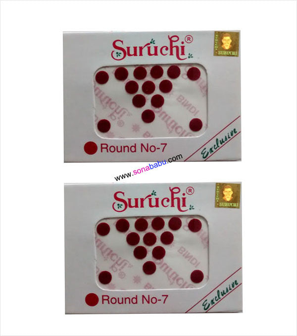 Suruchi plain maroon bindis size 7 set of 2