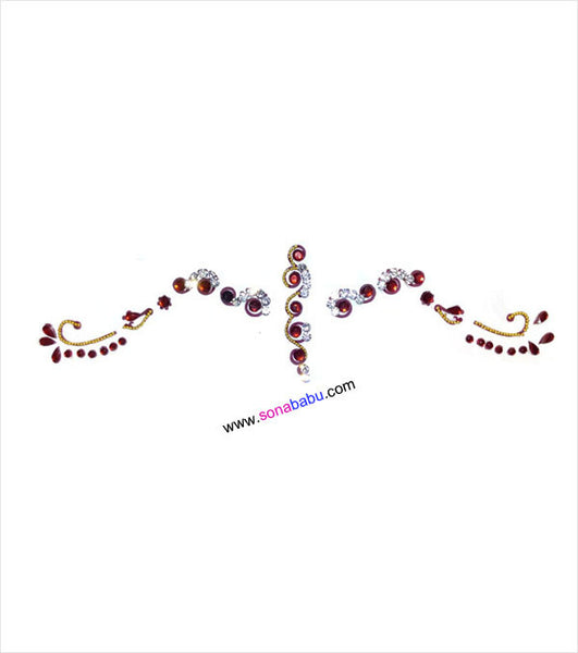 Bridal bindi with maroon and white beaded stones
