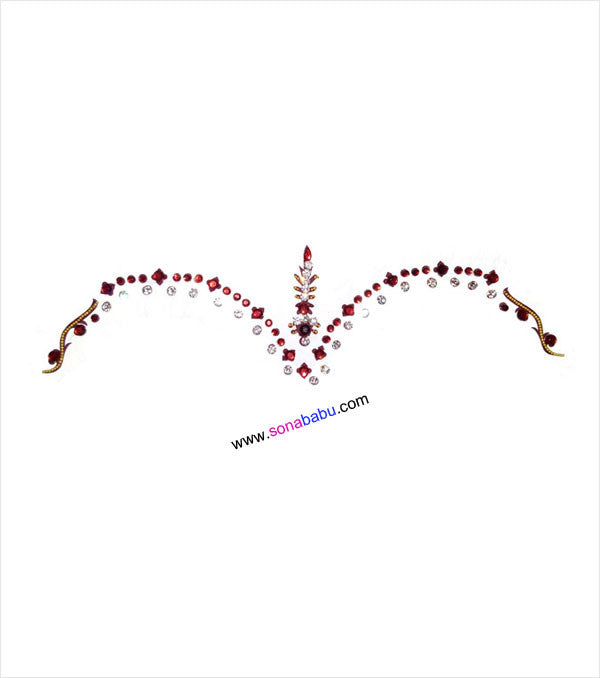 Maroon bridal bindi with beautiful stones