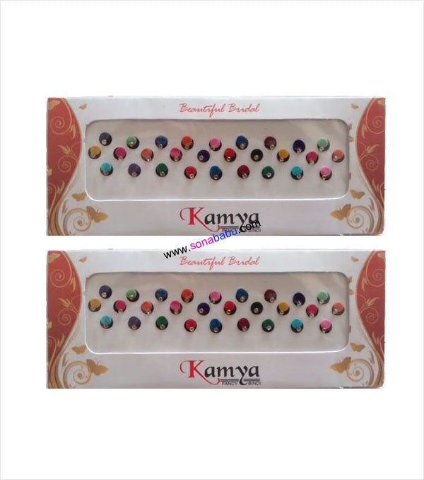 Multi coloured overlapping forehead bindi set of 2