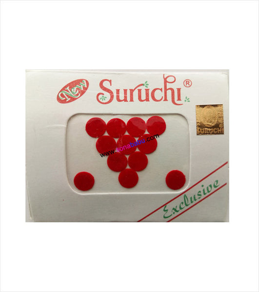 Suruchi plain red bindis size 11