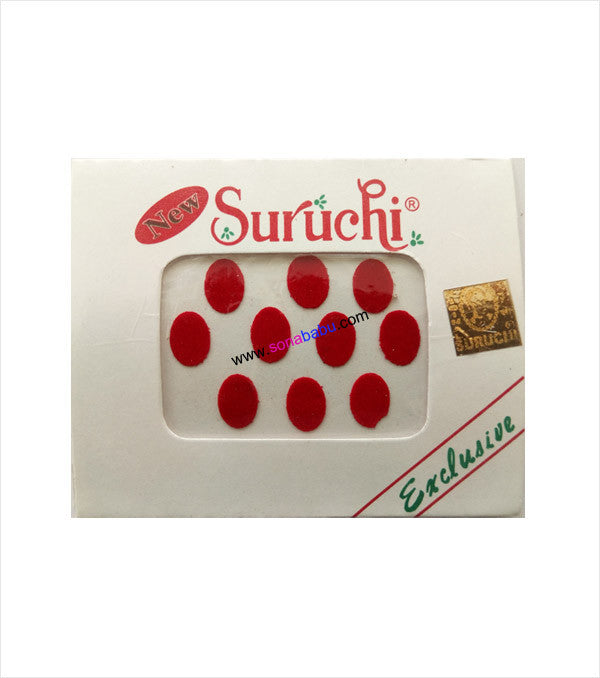 Suruchi plain red bindis size 12