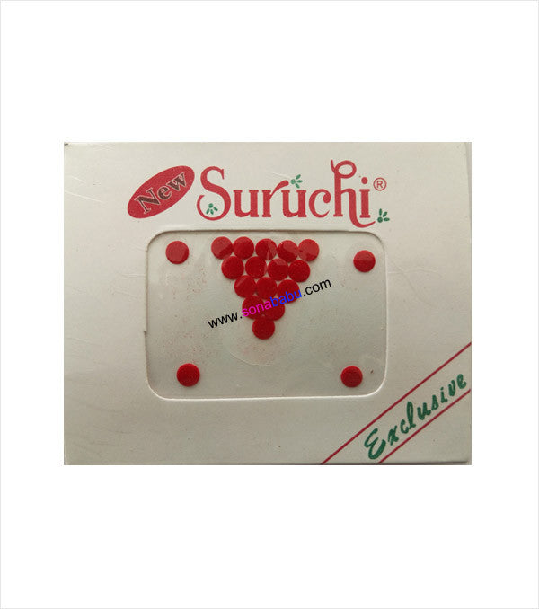Suruchi plain red bindis size 5