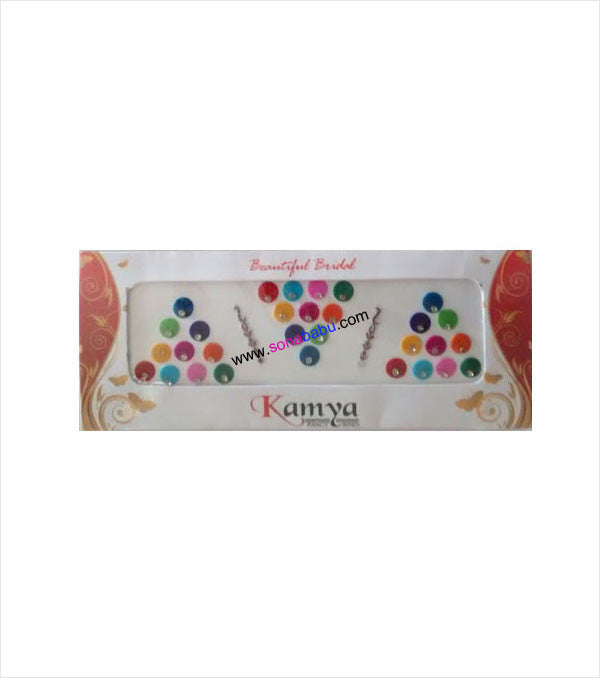 Multicolour plain bindi with single stone