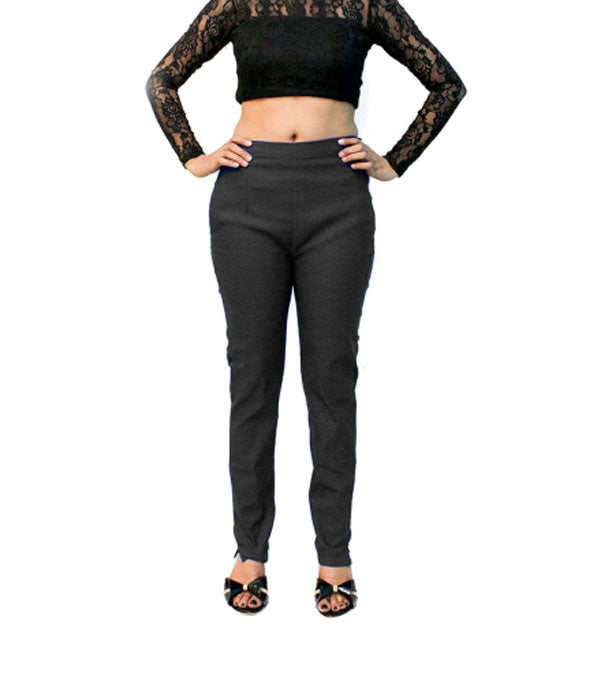 Black body fit stretchable pant