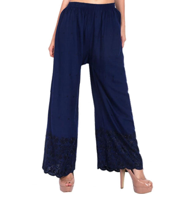 Dark blue rayon half embroidery chicken palazzo