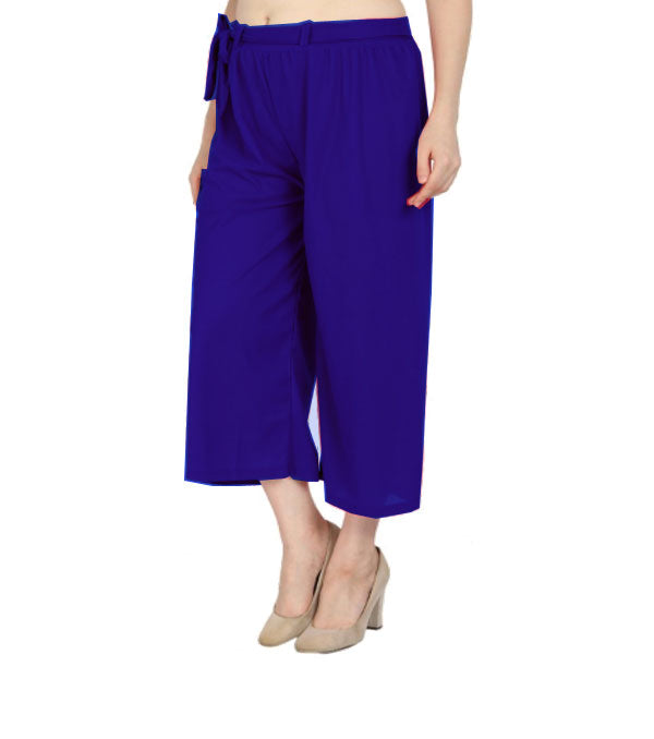 Blue culottes lycra cropped palazzo