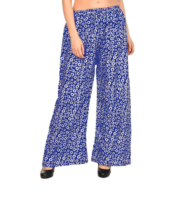 Printed blue crepe small flare palazzo