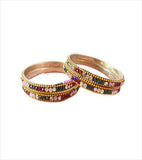 Brass bangle with colourful stones set of 4