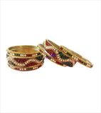 Glittering set of 6 brass bangles with colourful stones