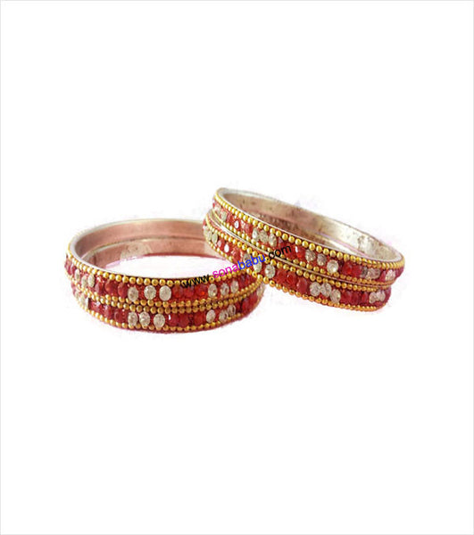 Fabulous stone beaded red brass bangles set of 4