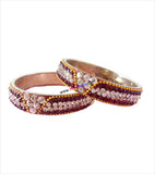 Glittering brass kangan with beautiful stones set of 2