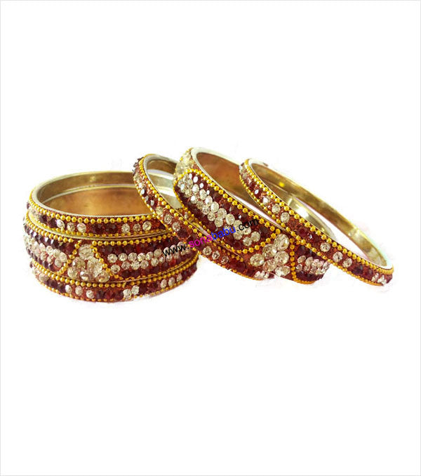 Glittering brass bangles with beautiful stones set of 6