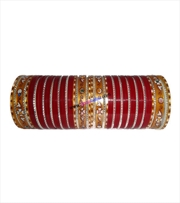 Red suhag chura medium set