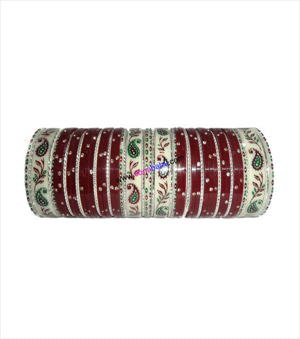 Maroon suhag chura with leaf design