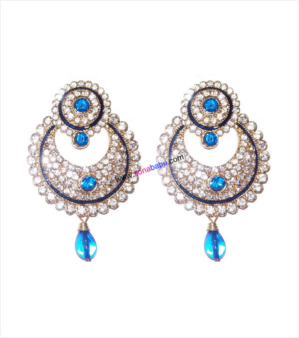 Beautiful stoned danglers with blue drop