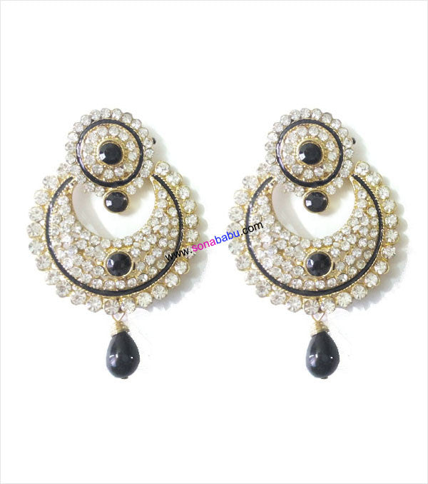 Beautiful stoned danglers with black drop
