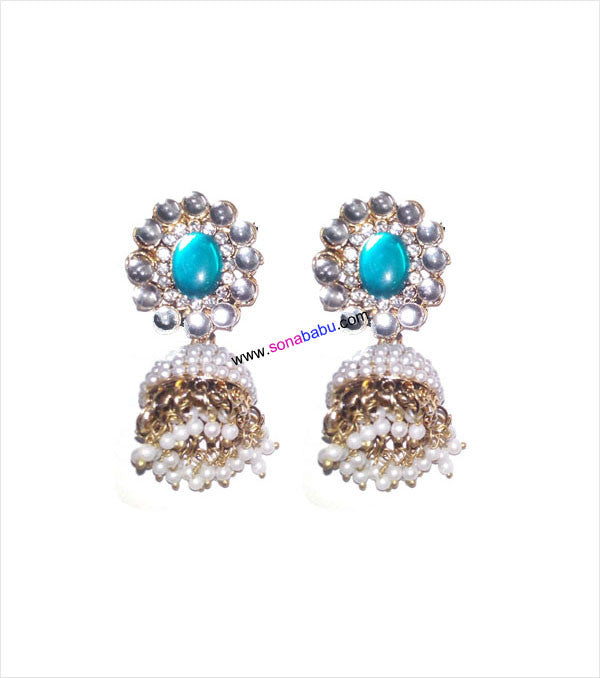 Blue and white stoned beautiful jhumki