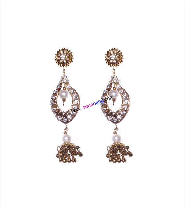 Golden danglers with white stones in jhumki style