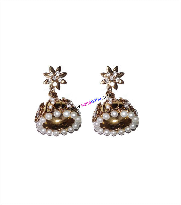 Golden jhumki with white moti
