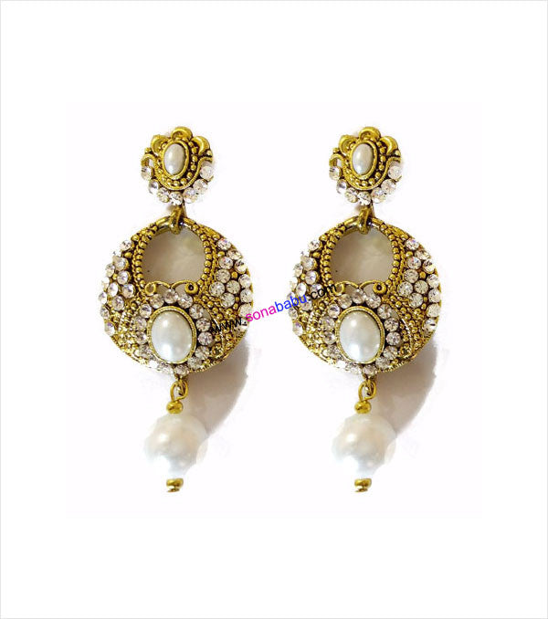 Golden danglers with white drop