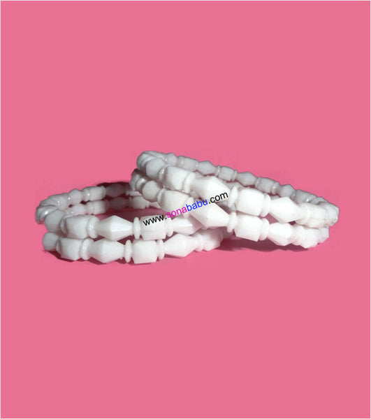 White shakha design fiber trendy bangle set of 4