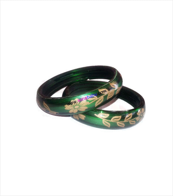 Green flower printed trendy bangle set of 2
