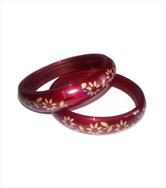 Red flower printed trendy bangle set of 2