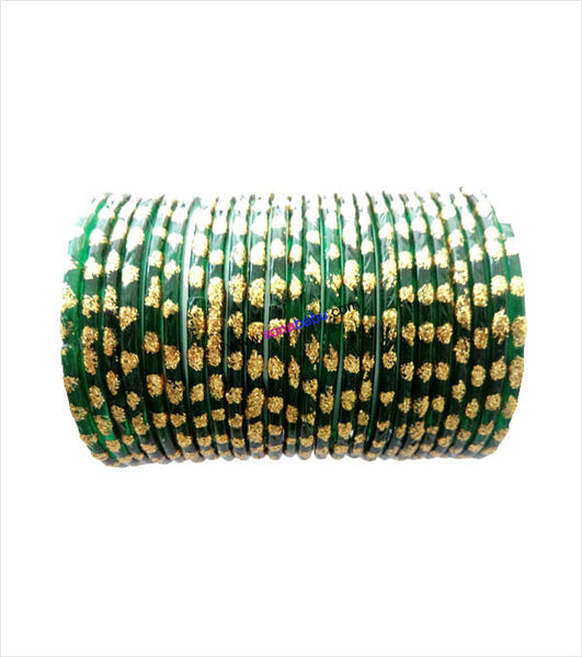 Dark green glittering glass bangles set of 24