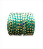 Light green glittering glass bangles set of 16