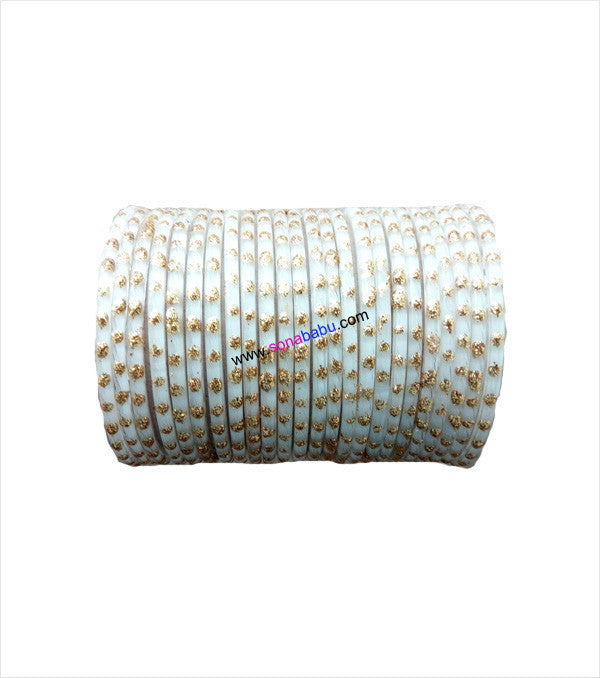 White glittering glass bangles set of 24
