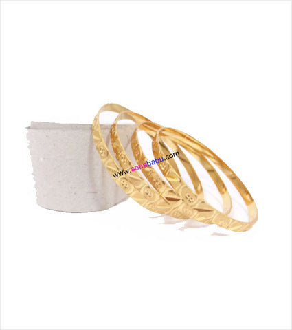 Gold plated bangles with flat inner and work set of 4