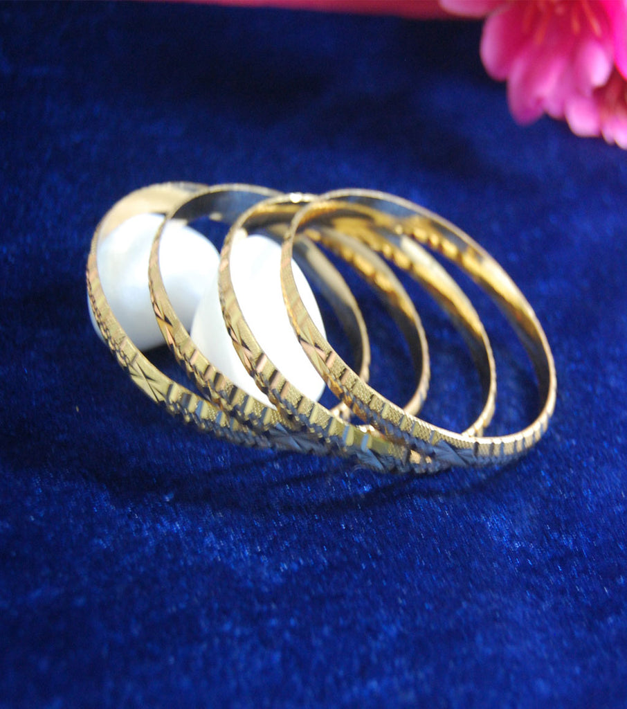 Gold plated bangles in kangan style with cutting work set of 4