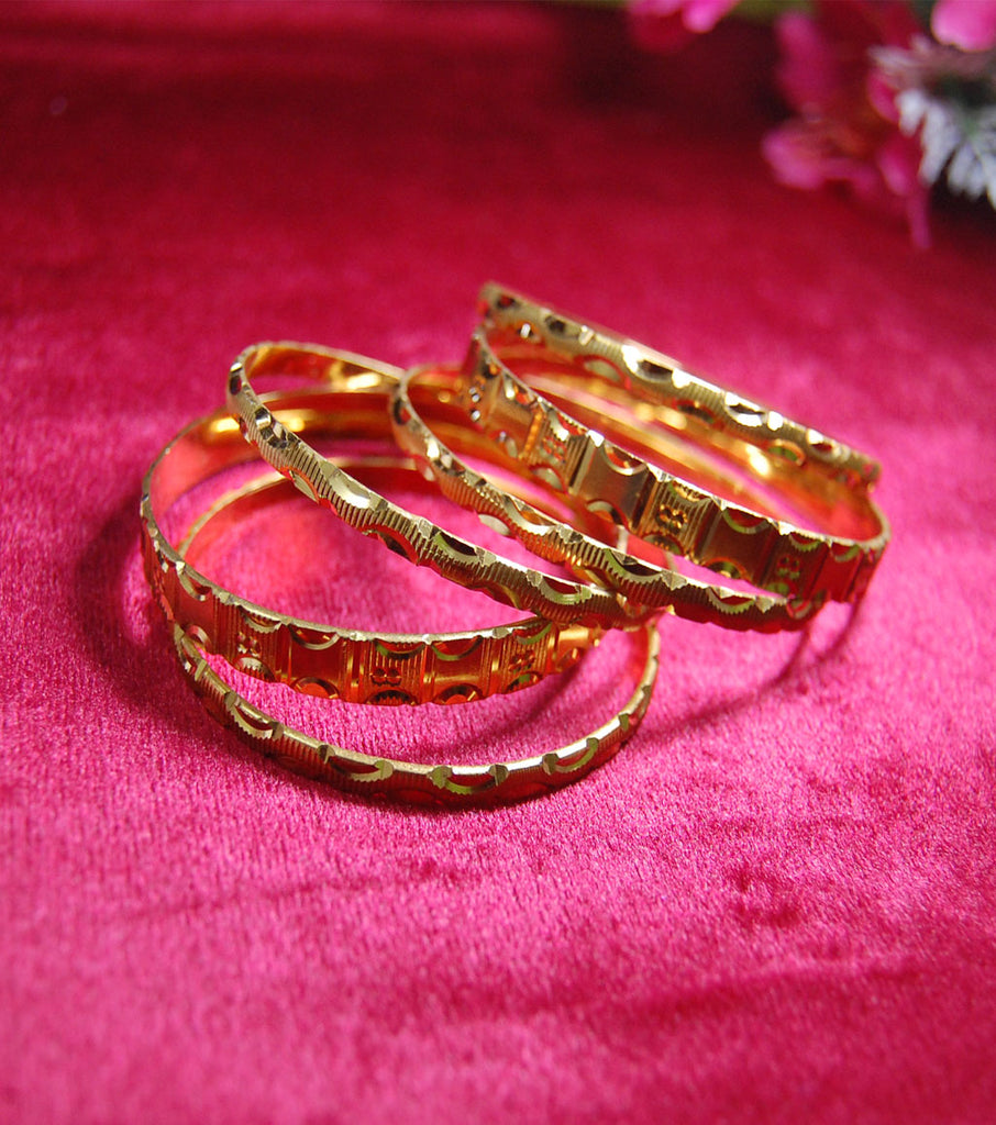 Gold plated bangles with cutting style Set of 6