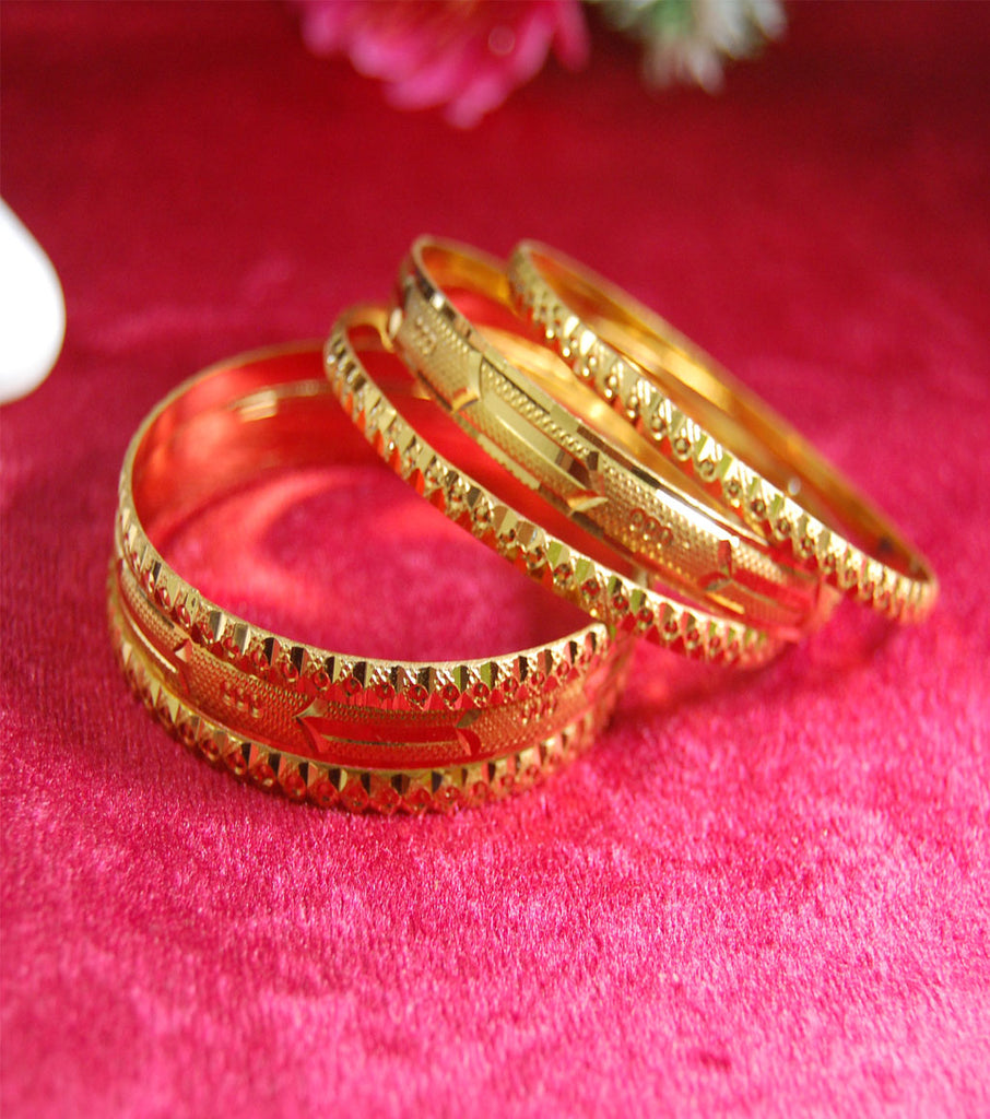 Gold plated bangles with shine and work set of 6