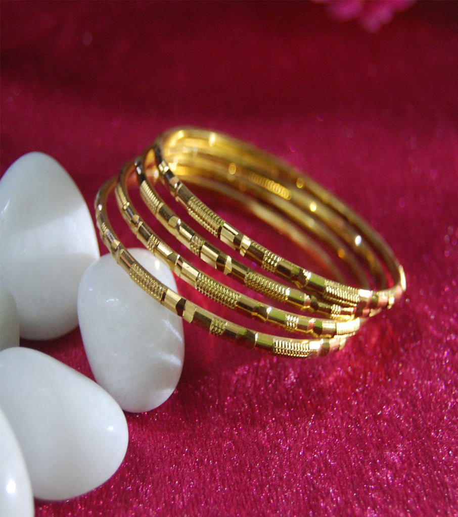 Designer gold plated bangles with beautiful work set of 4