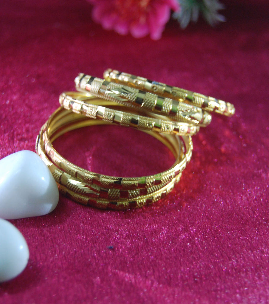 Designer gold plated bangles set of 6