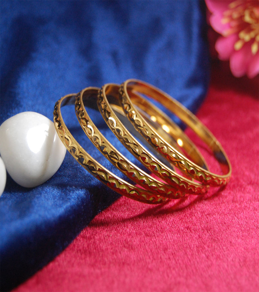 Gold plated bangles with full cutting work set of 4