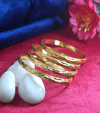 Gold plated bangles with beautiful work set of 4