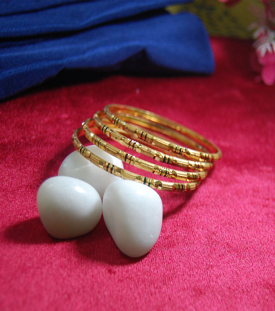Gold plated bangles in churi style set of 4