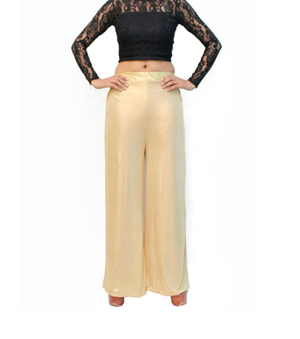 Golden party wear simmer big flare palazzo