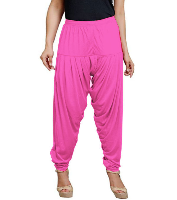 Hot pink viscose solid patiala