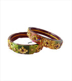 Broad golden kangan with colourful stone set of 2